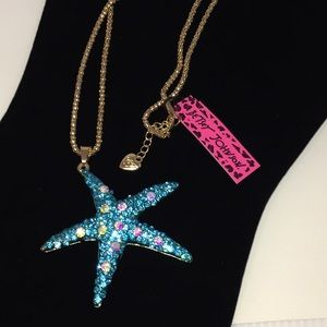 Blue & Abalone Crystal Starfish Gold Necklace NWT